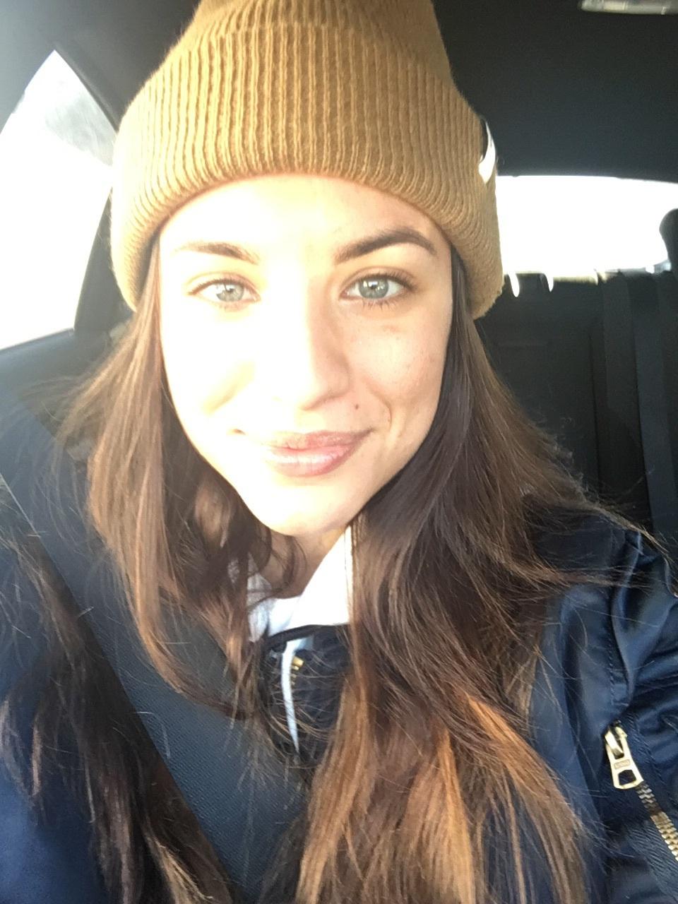 In the car enjoying a few rays of sun...