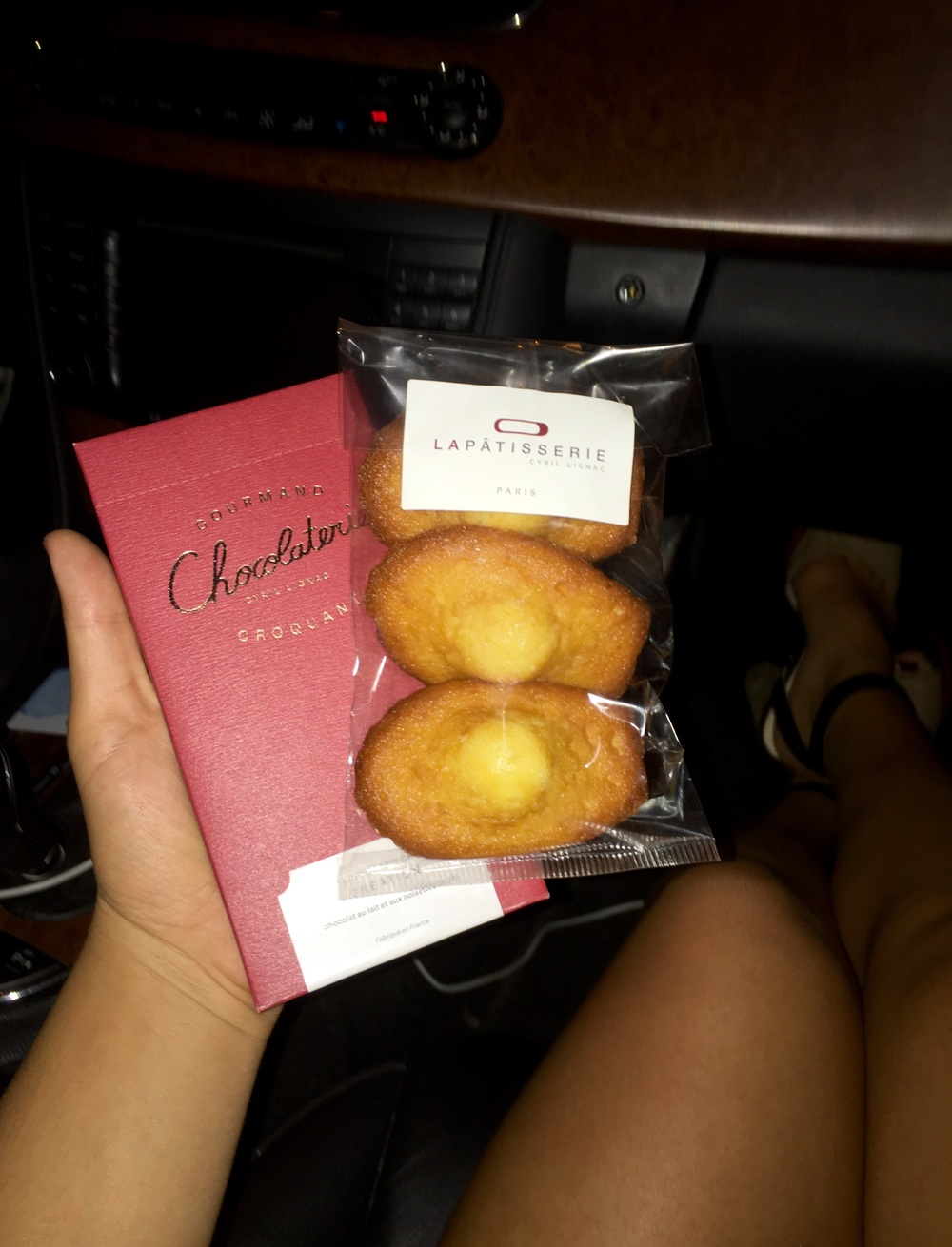 It contained a delish hazelnut milk chocolate and some Madeleine's! We were in a munchie mode so we ate it all in the car before hitting the club...