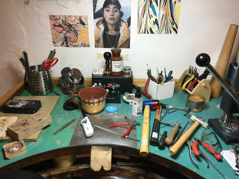 Her working space at her atelier.