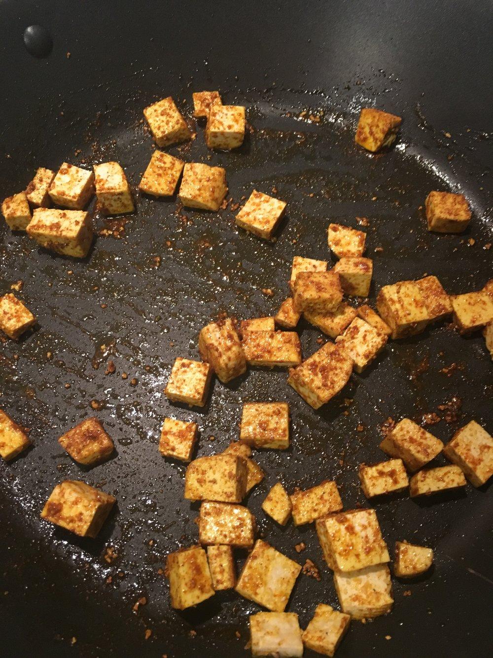 Tofu fried in chili garlic and Garam masala