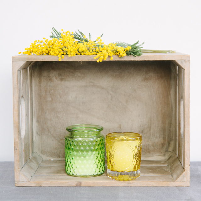 T-LIGHT HOLDERS - GREEN & YELLOW - large