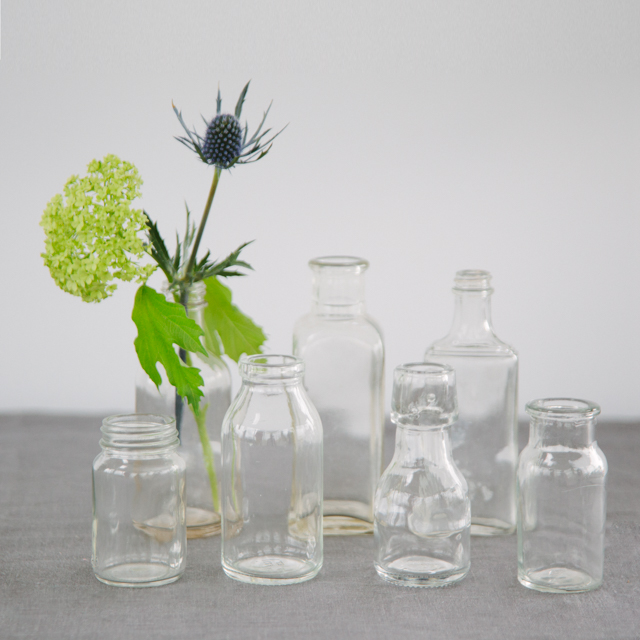 GLASS BOTTLES - CLEAR - mini & small