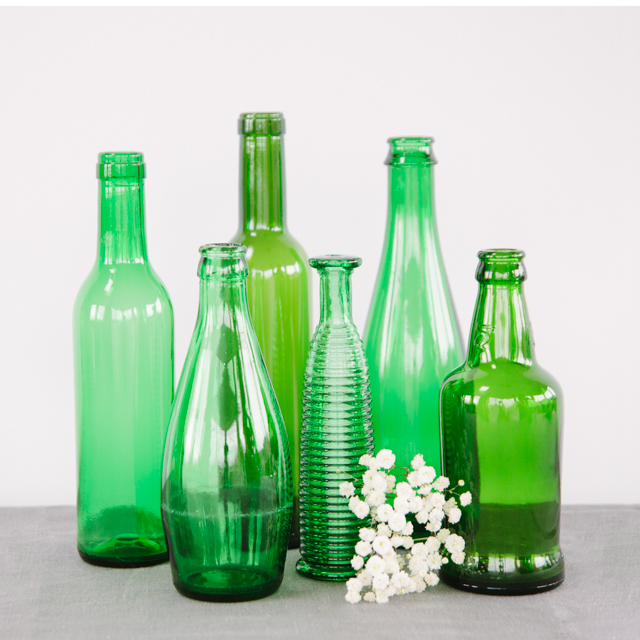 GLASS BOTTLES - GREEN - small, medium, large & x-large