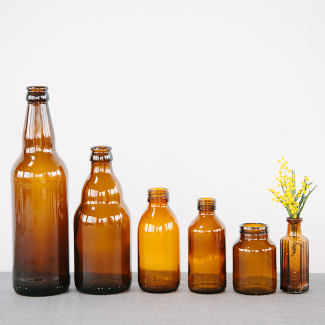 GLASS BOTTLES - BROWN - small, medium, large & x-large