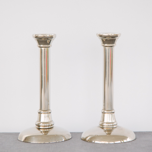 CANDLESTICKS - PLAIN & ORNATE SILVER - small, medium & large