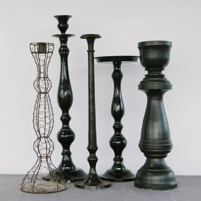 CANDLESTICKS - CHICKEN WIRE & BLACK - large & x-large