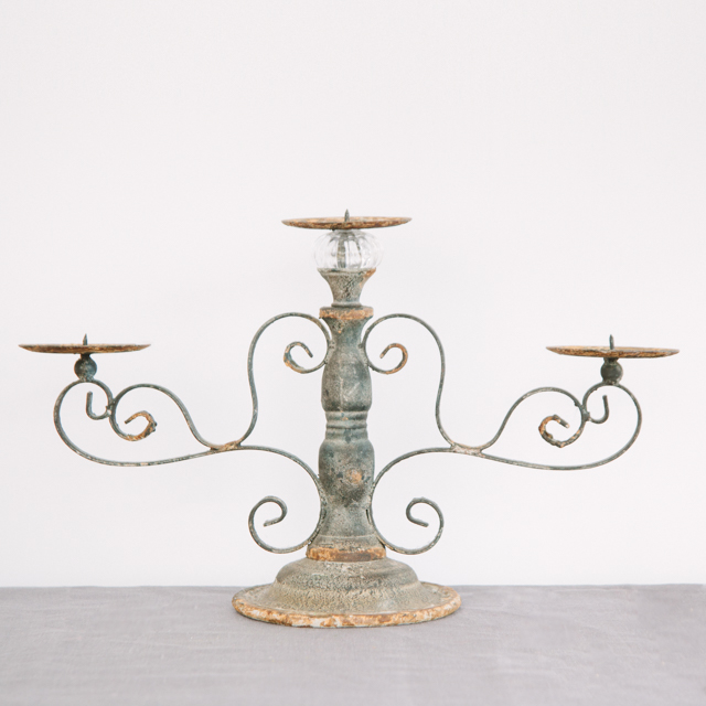 CANDLEABRAS - RUSTIC ORNATE METAL 3 PILLAR - large