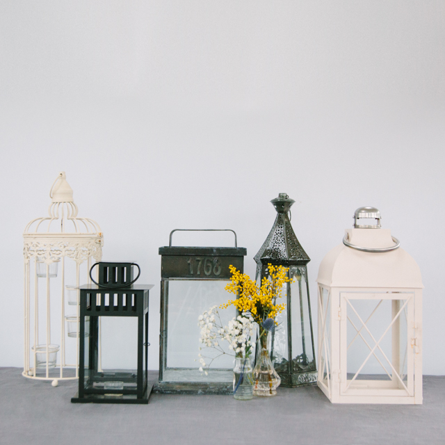LANTERNS - WHITE, METAL & BLACK - medium & large