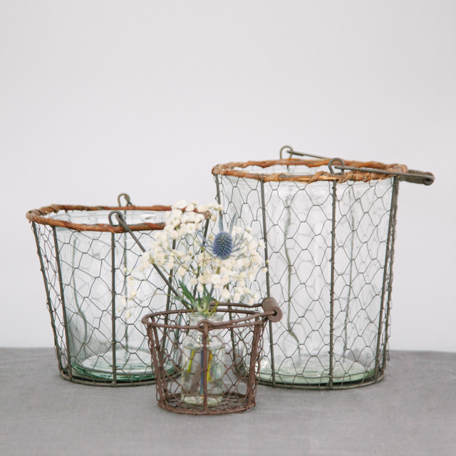 LANTERNS - CHICKEN WIRE WITH GLASS INSET - x-small, small, medium & large