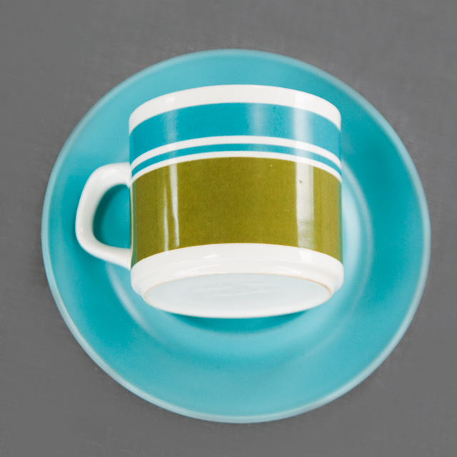 RETRO CHINA - BLUE & GREEN STRIPE - cup & saucer