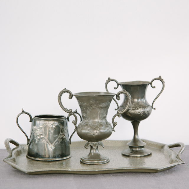SILVERWARE -  PEWTER ORNATE TANKARDS, JUGS & TRAY- small & medium