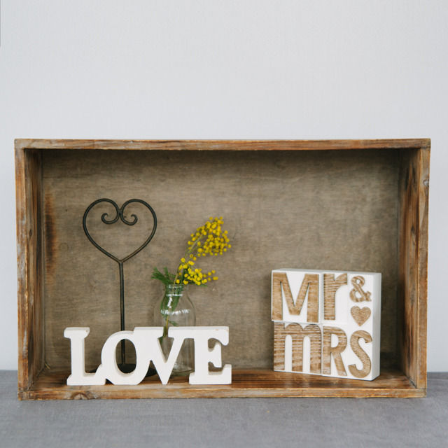 LOVE & HEARTS - WHITE LOVE, LOVE HEART STAND AND MR & MRS - small & medium