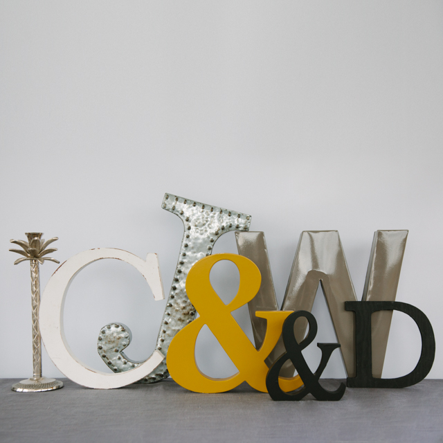 LETTERS - ASSORTED - C, J, W, D, H, E & AMPERSTANDS - small, medium & large