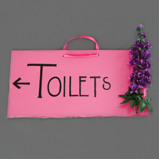 BESPOKE SIGNS - PINK TOILET SIGN WITH FLOWER - large