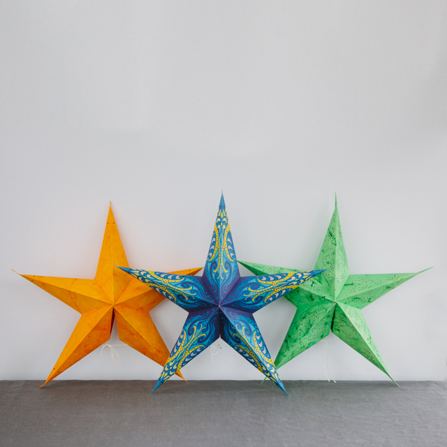 STAR COLLECTION - ASSORTED COLOURS & PATTERNS - ORANGE, BLUE & GREEN - large & x-large