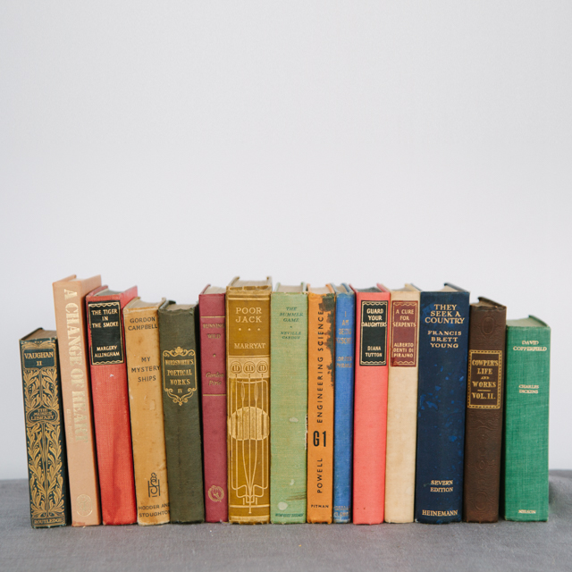VINTAGE BOOKS - HARDBACK - ASSORTED COLOURS - small, medium & large