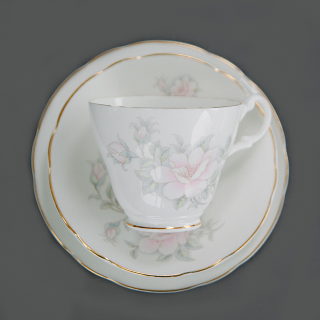 VINTAGE CHINA - LIGHT PINK FLOWER WITH GREY LEAF - trio
