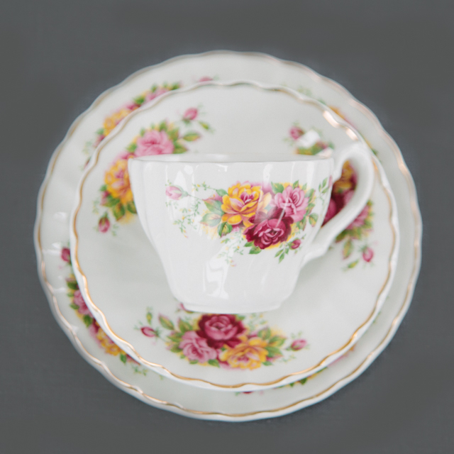 VINTAGE CHINA - PINK, RED & YELLOW FLOWER - trio