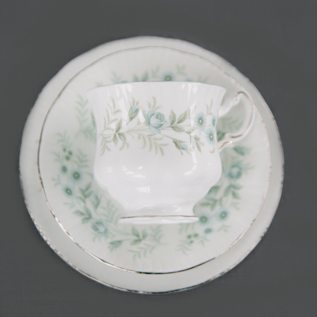 VINTAGE CHINA - LIGHT BLUE FLOWER WITH LIGHT GREEN LEAF - trio
