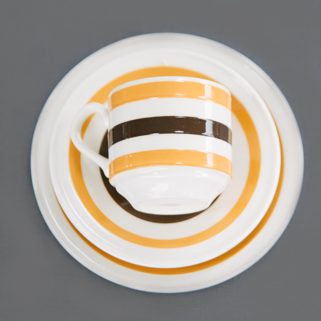 RETRO CHINA - YELLOW & BROWN STRIPE - trio
