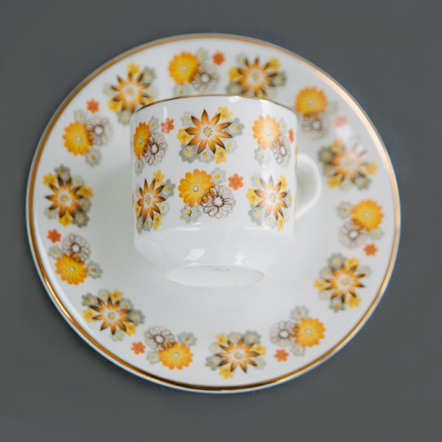 RETRO CHINA - YELLOW, BROWN & GREY FLOWER - trio