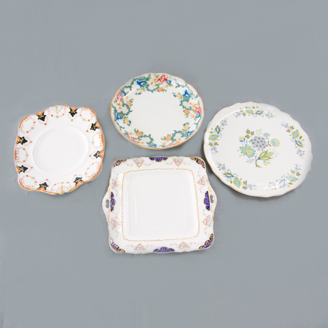 CAKE PLATES & BOWLS - VINTAGE MIX ASSORTED CAKE PLATES - medium & large