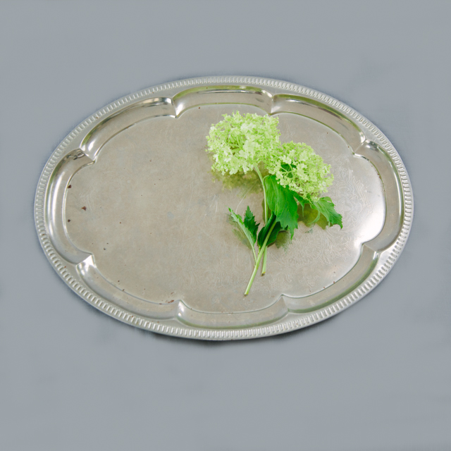 SILVERWARE - SILVER ORNATE TRAY - OVAL SHAPE - large