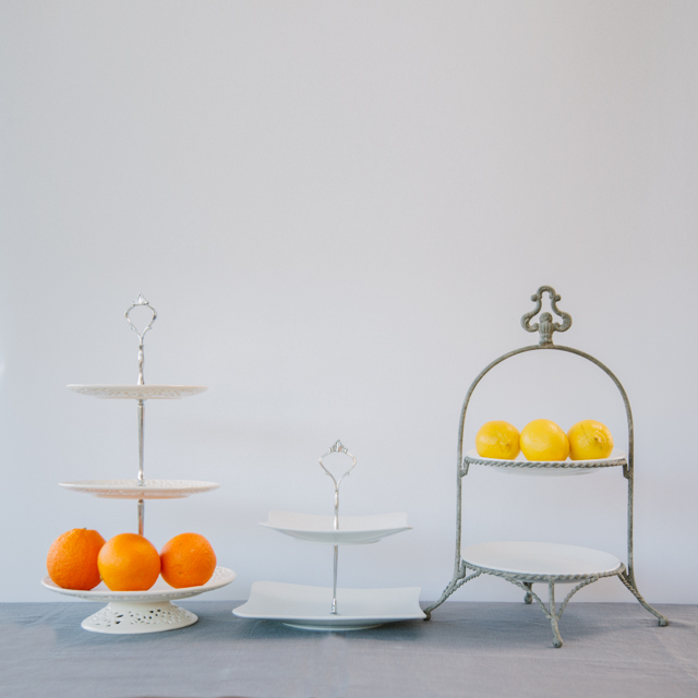 CAKE STANDS & PEDESTAL DISHES - WHITE CERAMIC & SLATE CAKE STANDS - TWO & THREE TIER - large