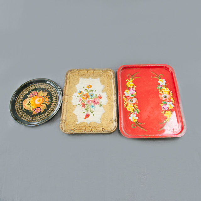 TRAYS & BOWLS - ANTIQUE TRAYS - BLACK, GOLD & RED - ROUND & RECTANGLE - small, medium & large