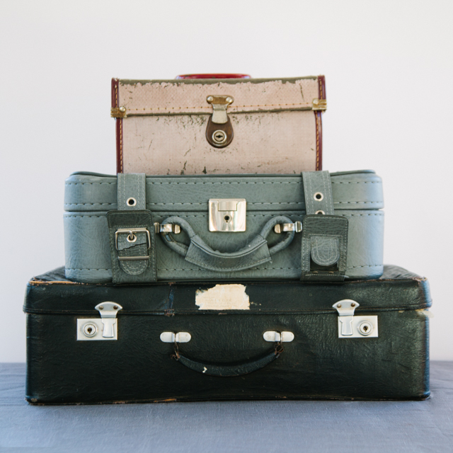 ANTIQUE SUITCASES - VINTAGE COLLLECTION - LIGHT RED, GREY & NAVY - small, medium & large