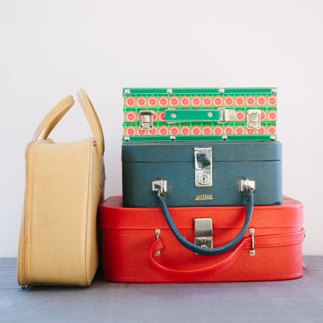 OLD SUITCASES - RETRO COLLECTION - DARK CREAM, GREEN, BLUE & RED - small & medium