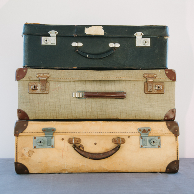 OLD SUITCASES - VINTAGE COLLECTION - NAVY, LIGHT GREEN & CREAM - large & x-large