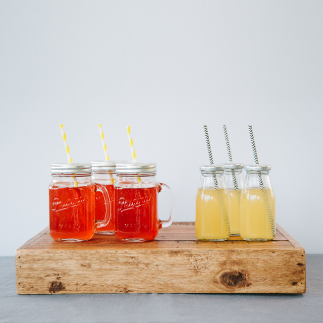 DRINKS RECEPTION - KILNER JARS WITH HANDLES AND LIDS & MILK BOTTLES WITH LIDS