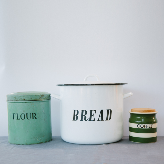 ENAMELWARE - ANTIQUE FLOUR TIN, BREAD BIN & COFFEE POT