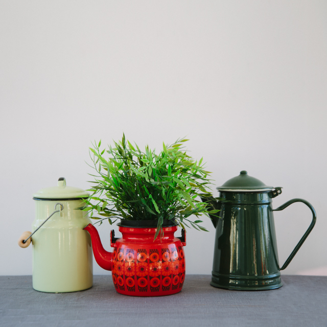 ENAMELWARE - LIGHT GREEN MILK CHURN WITH LID, RETRO RED PATTERN TEAPOT & ANTIQUE DARK GREEN COFFEE POT - medium