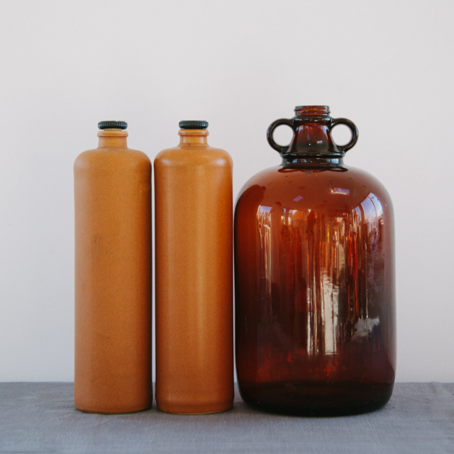 GLASS & CERAMIC - ANTIQUE CERAMIC WHISKEY BOTTLES & ANTIQUE BROWN MEDICINE BOTTLE - large & x-large