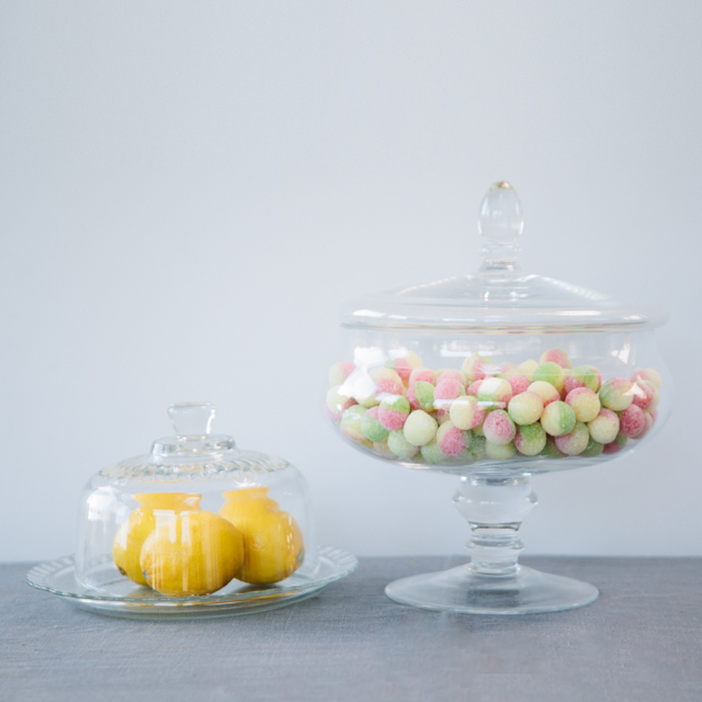 GLASS & CERAMIC - GLASS PLATE WITH DOME COVER & GLASS CANDY JAR - small & large