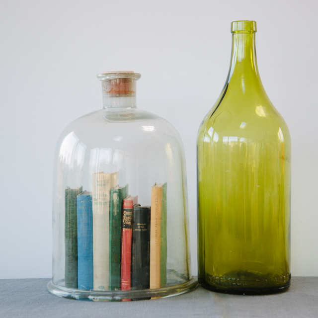 GLASS & CERAMICS - VINTAGE BELL JAR & VINTAGE GREEN BOTTLE - large & x-large