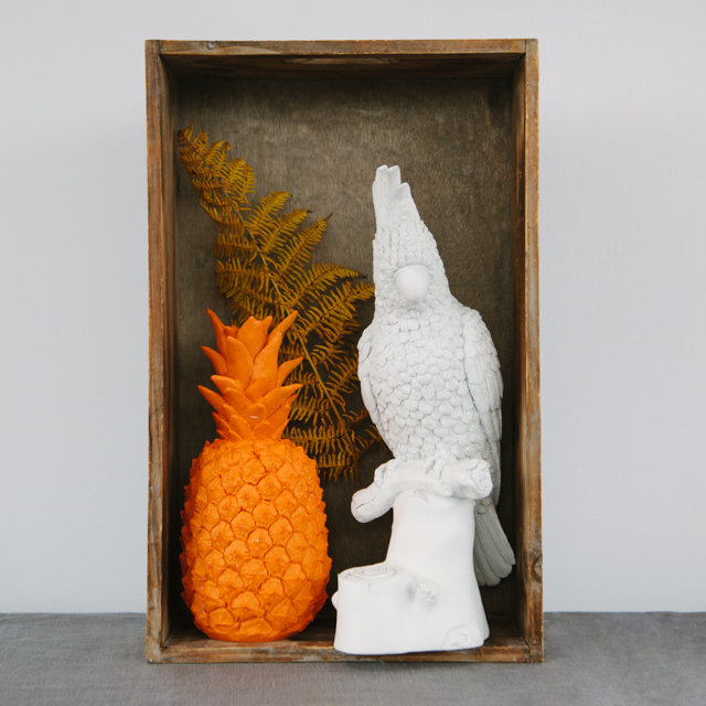 GLASS & CERAMIC - ORANGE PINEAPPLE & WHITE PARROT - large collection of ceramics & decorative ornaments available