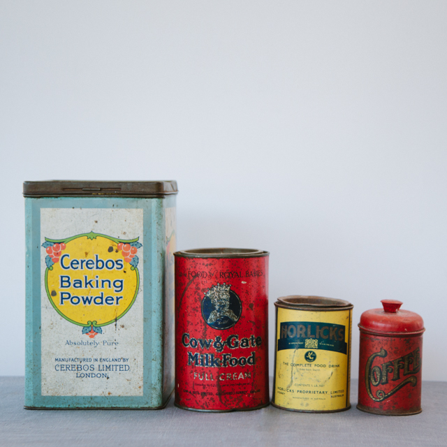 VINTAGE & RETRO TINS - ASSORTED - x-small, small, medium & large