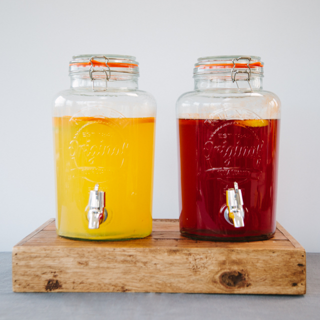 LEMONADE STAND & DRINKS RECEPTION - 5L DRINK DISPENSERS, KILNER JARS WITH HANDLES & LIDS AND MILK BOTTLES WITH LIDS *bespoke lemonade stand coming soon
