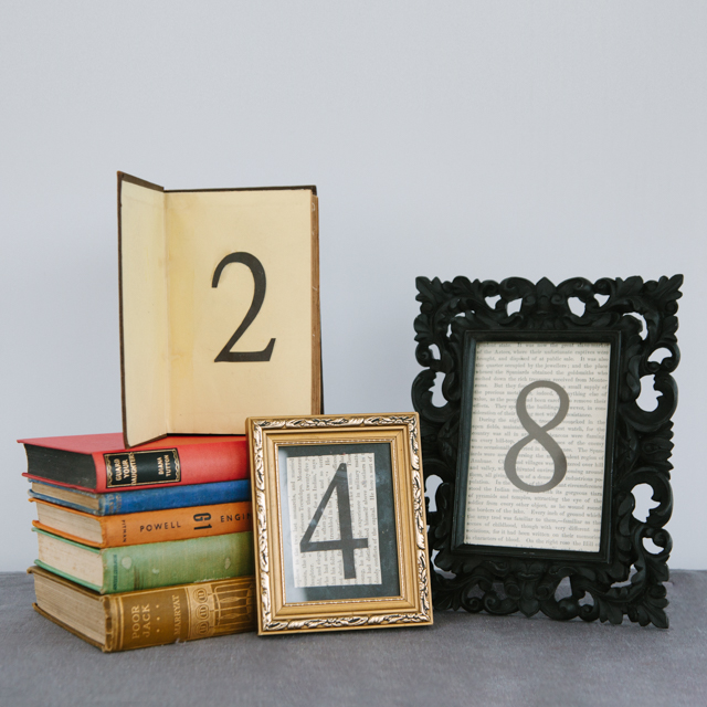 TABLE NUMBERS - RUSTIC COLLECTION - OLD BOOKS, GOLD & BLACK FRAMES - ASSORTED AVAILABLE - can also be made to order to your preference