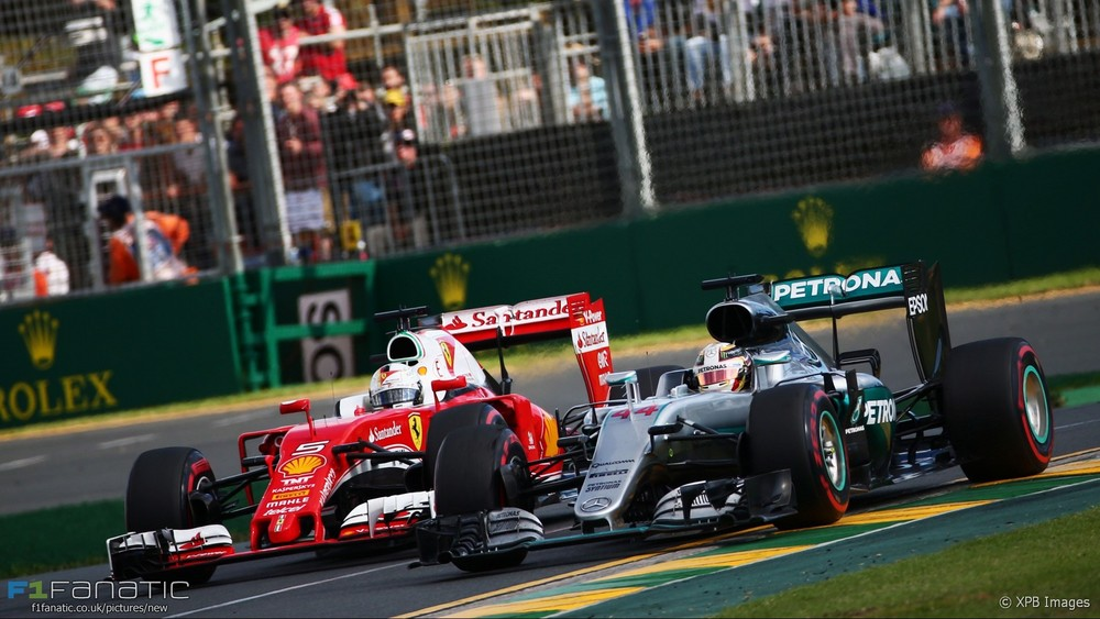 Lewis Hamilton leads Sebastian Vettel in the 2016 Rolex Australian Grand Prix