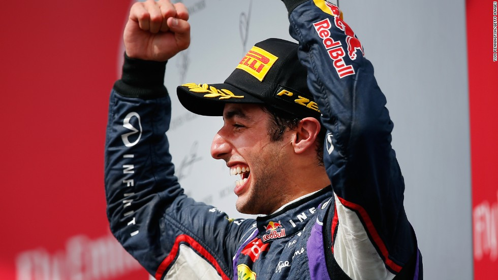 Daniel Ricciardo celebrates his maiden victory
