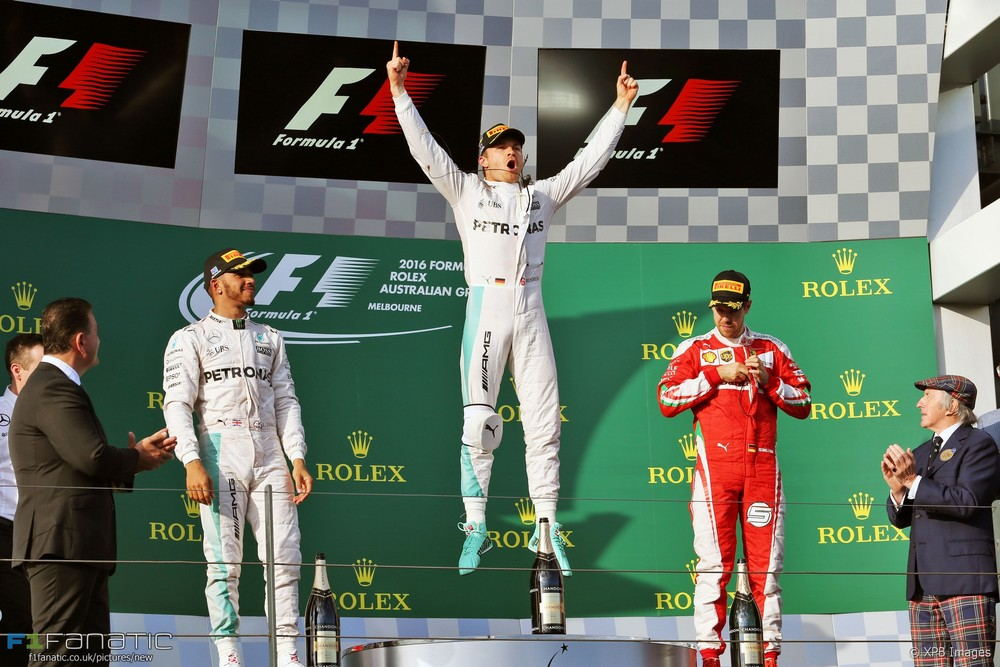 Nico Rosberg celebrates his fourth consecutive Formula 1 win