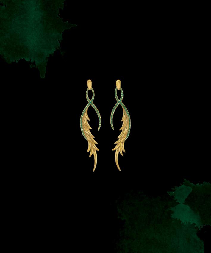 Mystical Peacock Gold &Tsavorite Earrings:  Gouache painting.