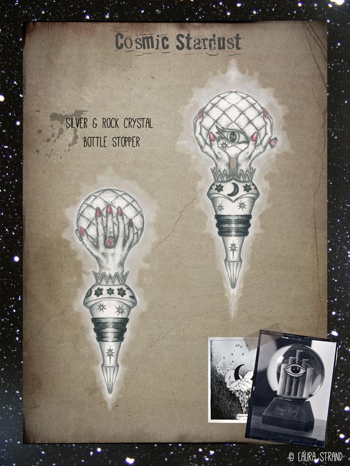 Cosmic Stardust:  Silver, enamel & crystal bottle stopper.  Pencil illustration