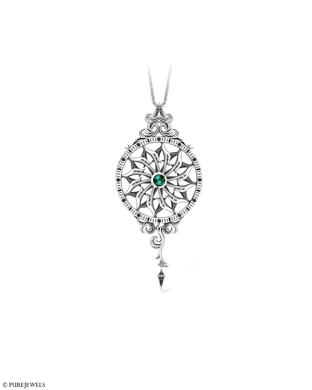 Lonmin Design Innovation Award Winning Spinning Pendant:  Platinum, black diamonds & tourmaline. Designed for  PureJewels .