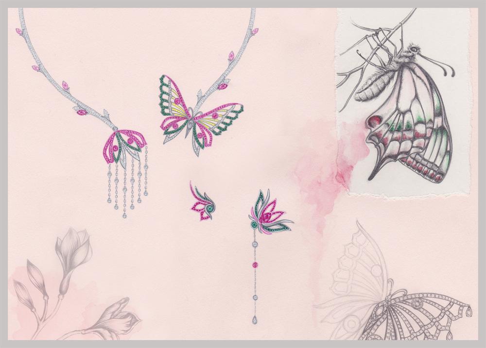 Flutter Suite: Gouache Painting, pencil &watercolour illustration.
