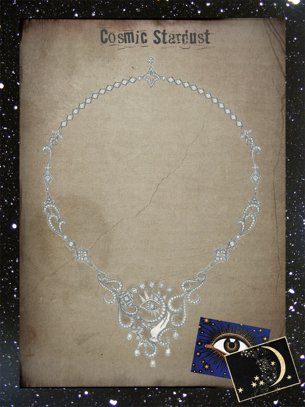 Cosmic Stardust:  White gold & diamond necklace. Pencil illustration
